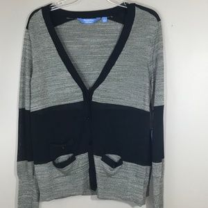 Black & Gray Cardigan Size Lg by Simply Vera NWT